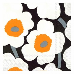 Serviettes L UNIKKO black orange - Marimekko