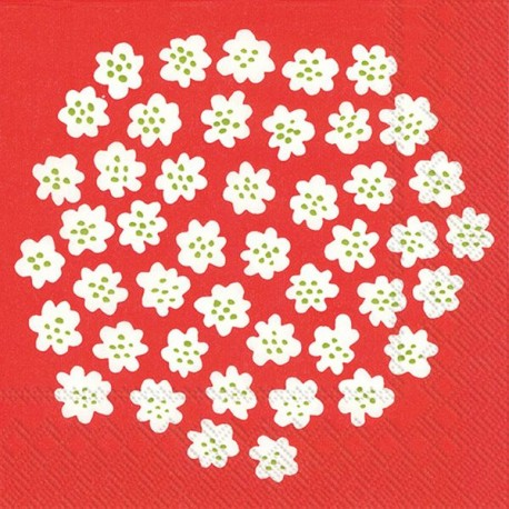 Serviettes L PUKETTI white red - Marimekko