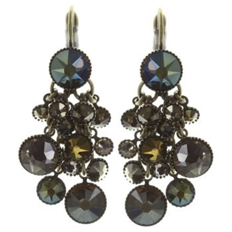 Earrings dangling Waterfalls khaki/green - Konplott