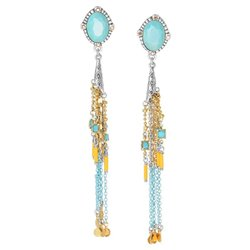 Earrings Elyne poussoir top ovale & pompons 12--64055 - Franck Herval