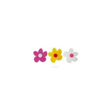 Aimants fleur 3 pièces jaune-bl-fush - Basta design